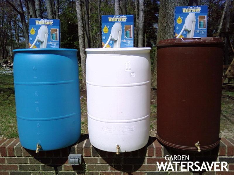 three different rain barrel options