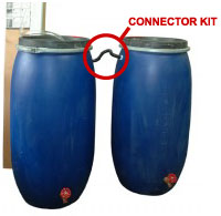 connect two or more rain barrels together using connector kits