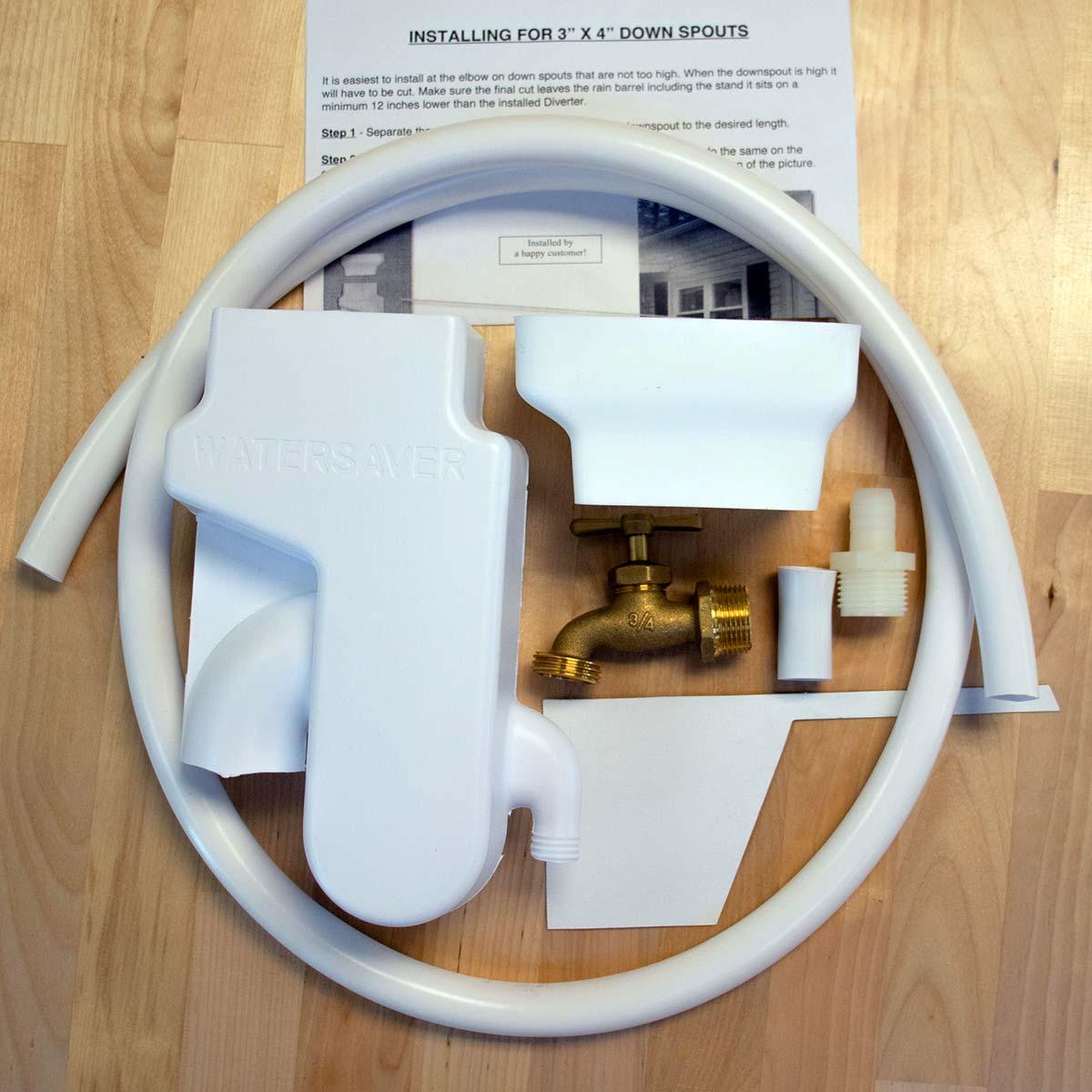 Garden Watersaver Complete Rainbarrel Kit for 3x4 in Downspouts